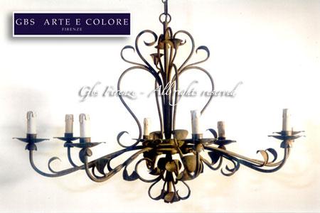 fabbrica lampadari firenze : Lampadario in ferro battuto ovale. Modello Alessandria a otto luci.