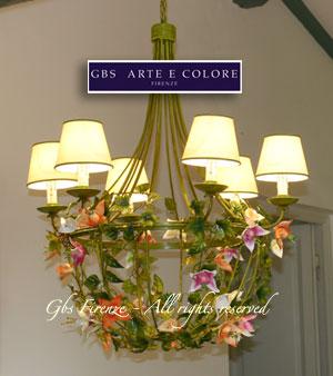 Lampadario in ferro battuto - Theresa con fiori tropicali