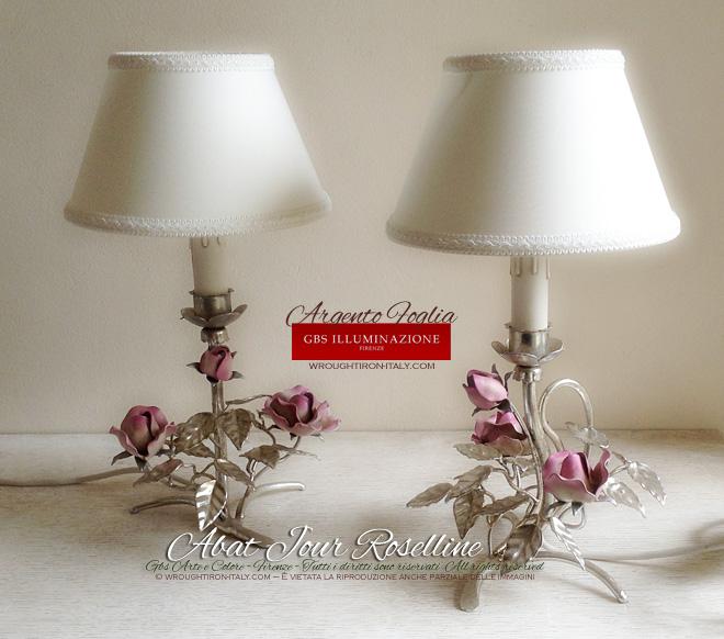 Lampada Da Comodino In Argento GBS Illuminazione Ferro
