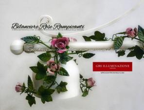 Lampada a Sospensione Alice 3 Luci con Rose, Colore bianco