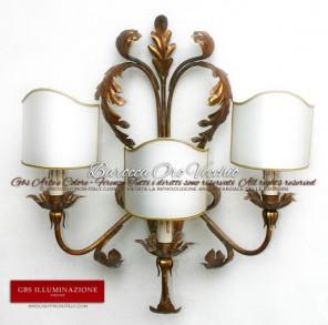 Applique Barocca in Oro Foglia, foglie d'acanto. Ferro battuto e decorato a mano.