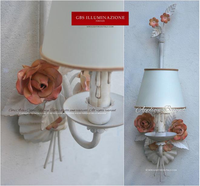 Applique in ferro battuto bianco con rose. GBs Firenze