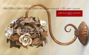 Bonbon Collection. Applique Rose e Foglie, Oro Antico e Smalto patinato. Made in Italy. Design: Gianni Cresci