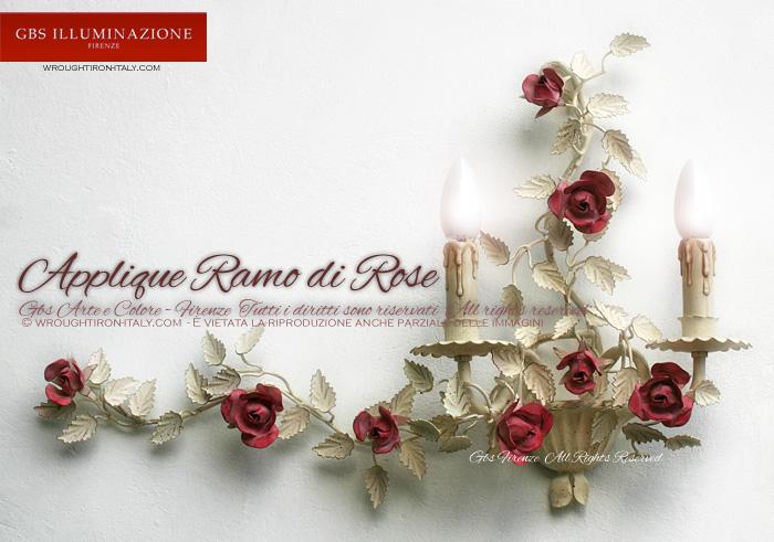 Applique Ramo di Rose a 2 luci, tempera bianca