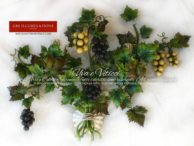 Applique ferro battuto con Uva e Viticci