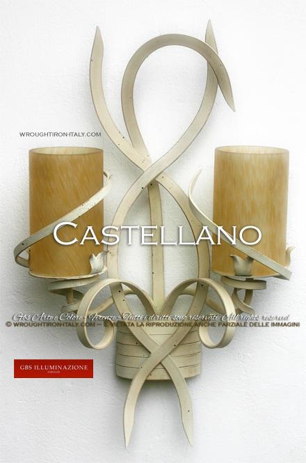 Castellano sconce, white wrought iron