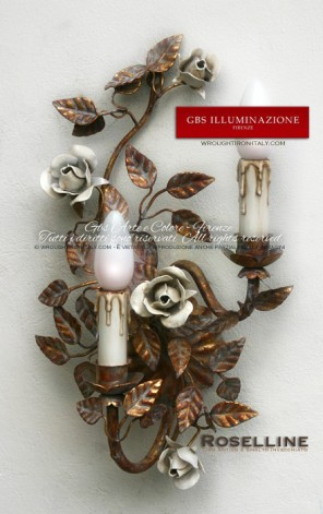 Applique Oro antico, rose in smalto bianco patinato
