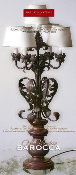 Lampada da tavolo a 5 luci, Barocca con foglie d'acanto
