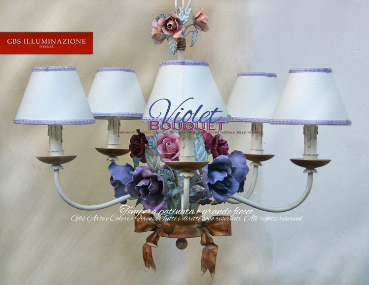 Violet bouquet chandelier. Romantic Wrought Iron.  Rose bouquet tempera-painted. Shades of pink, purple and fuchsia.
