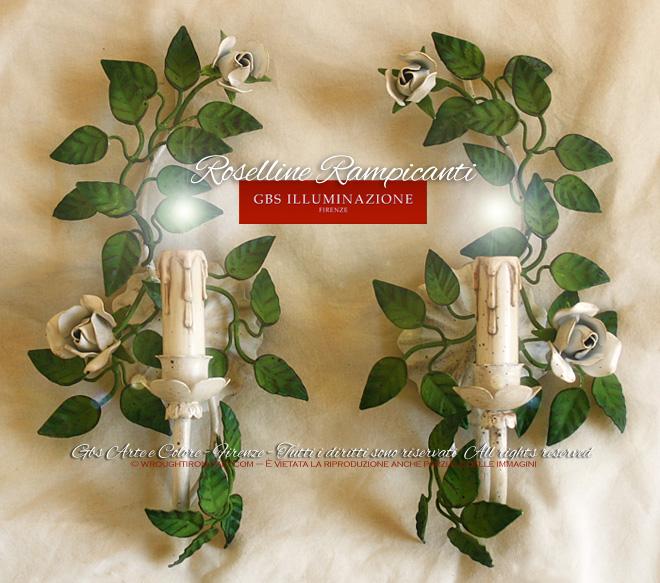Coppia di Applique 1 Luce - Ferro battuto e decorato a mano. GBS FIRENZE