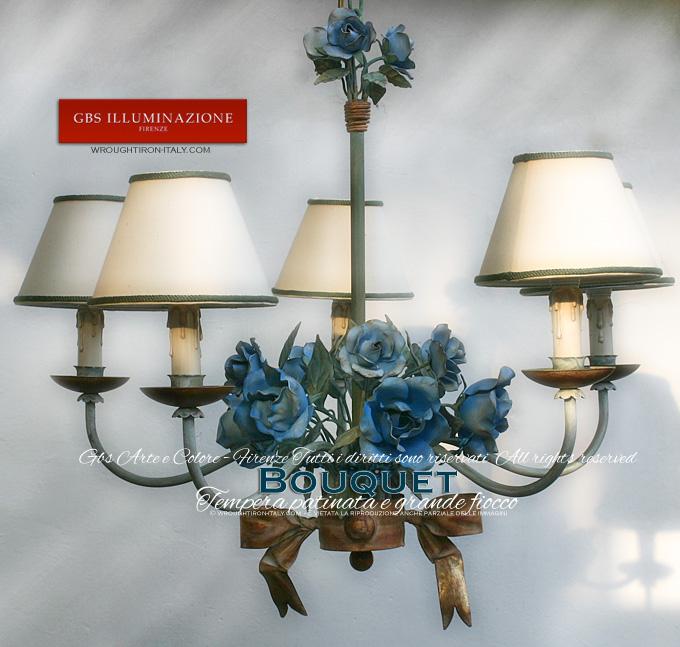 Lampadario Bouquet Azzurro 5 Lucigbs Illuminazione Ferro