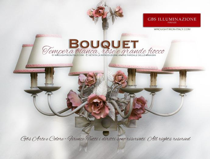 Lampadario Bouquet bianco, con rose in tempera