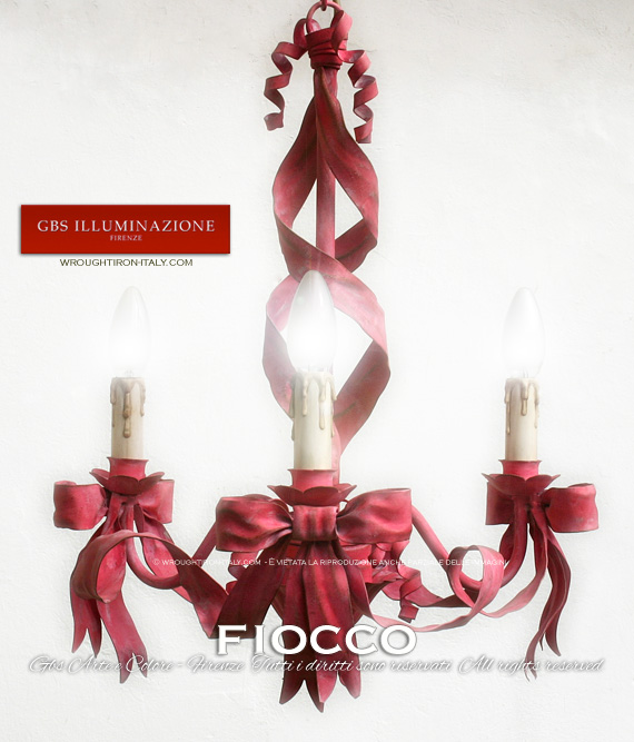 Chandelier with 3 lights with bows and ribbon
