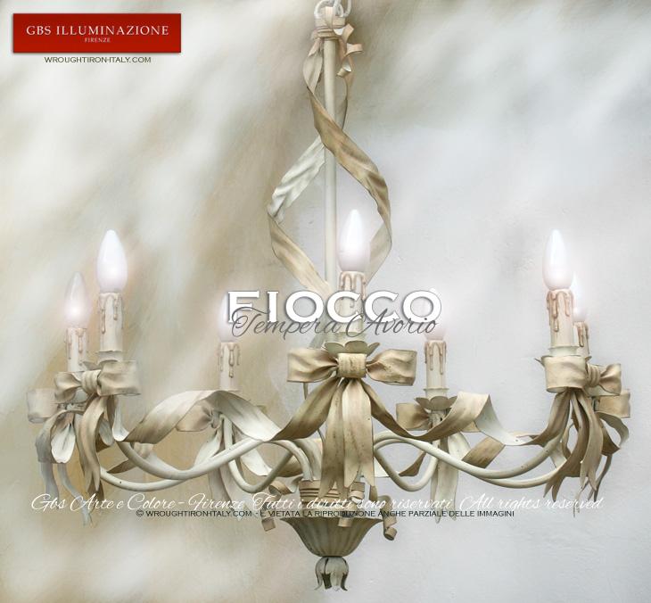 Lampadario Fiocco 7 Luci  GBS Illuminazione – Ferro ...
