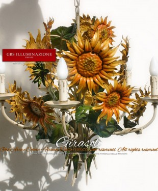 Lampadario con fiori di Girasole. GBS Firenze. Collezione Country. Ferro Battuto