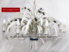 Lampadario Lavanda in ferro battuto bianco