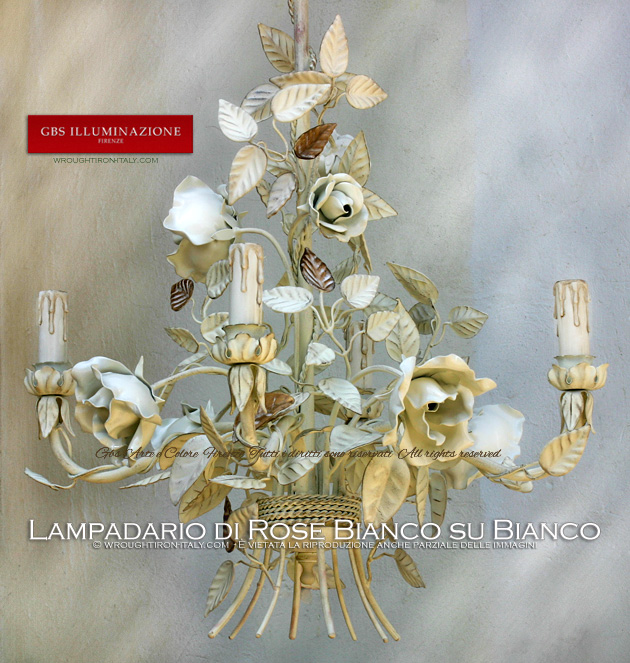 White Blooming Rose Chandelier. Gold, tempera, enamel. Made in Italy. Wrought iron.