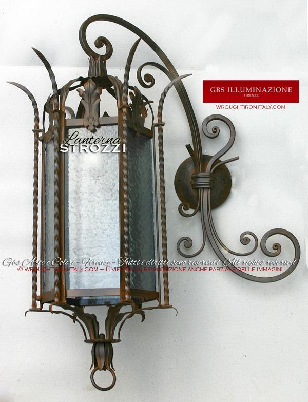 Lanterna strozzi in ferro battuto gbs illuminazione - Lanterne da interno ...