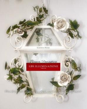 Lanterna Bianca Romantica. Ferro battuto e decorato a mano. GBS, Made in Italy