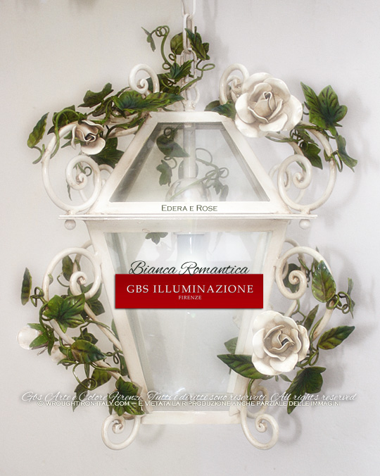 Romantic lantern with white roses. GBS, Made in Italy