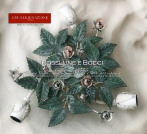 Tempera cenciata. Rose e bocci bianchi e rosa. Plafoniera con tre punti luce. GBS, Made in Italy