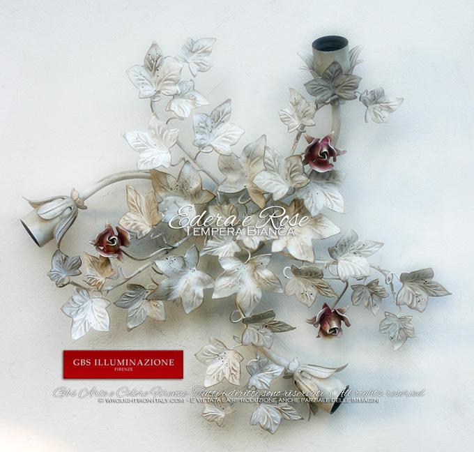 Plafoniera bianca, tre luci, edera e rose in tempera