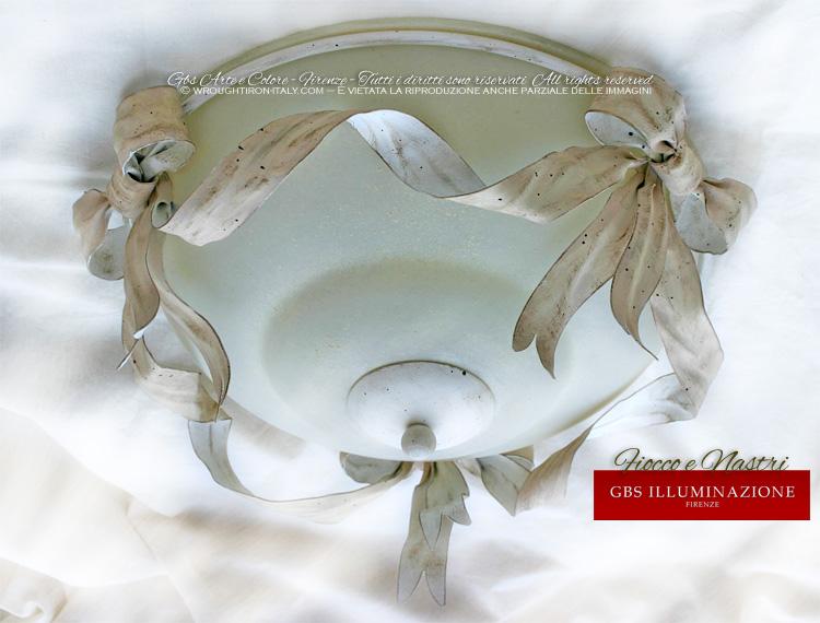 Plafoniera Ferro Battuto Nero : Plafoniera fiocco gbs illuminazione u2013 ferro battuto wrought iron