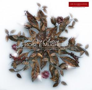 Plafoniera Rose e Mughetti in Oro Antico