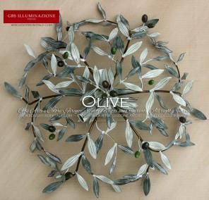 Plafoniera Olive in ferro battuto di GBS. Collezione Country. GBS FIRENZE