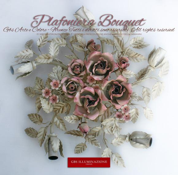 Plafoniera Bouquet bianca, rotonda, smalto bianco patinato, rose color rosa petalo.