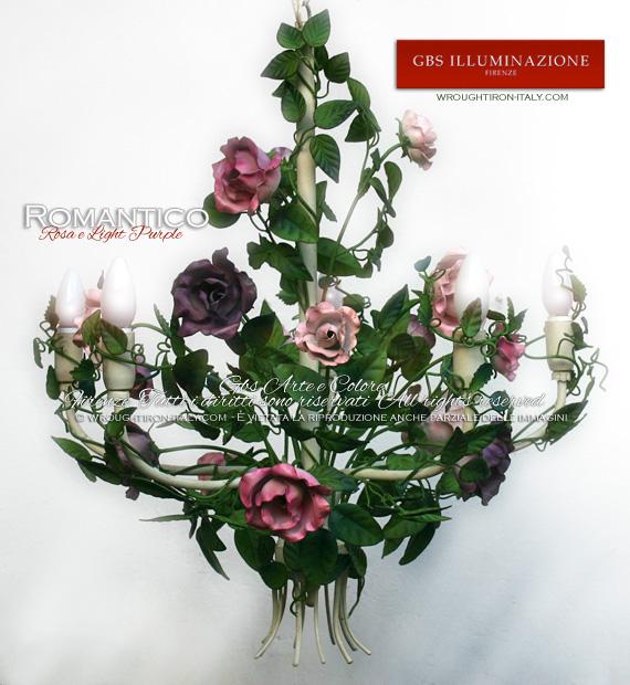 Lampadario Romantico Light Purple in ferro battuto decorato a mano. GBS Firenze, Made in Italy