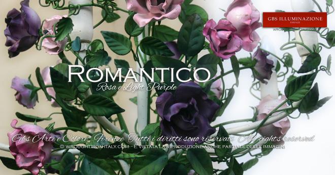 Lampadaro a 5 luci, tempera e smalto opaco, struttura bianca patinata, foglie con sfumature di verde, rose rosa, viola e fucsia.