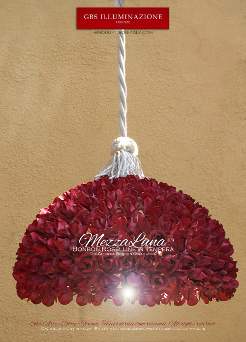 "Mezzaluna (""Crescent"") Pendant lamp, roses in tempera. Very high hand-crafted quality. Designed and produced in Florence. GBS Firenze. Bonbon Collection. Design: Gianni Cresci - All Right Reserved"