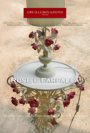 Lumetto da comodino, Abat Jour con farfalla e rosa