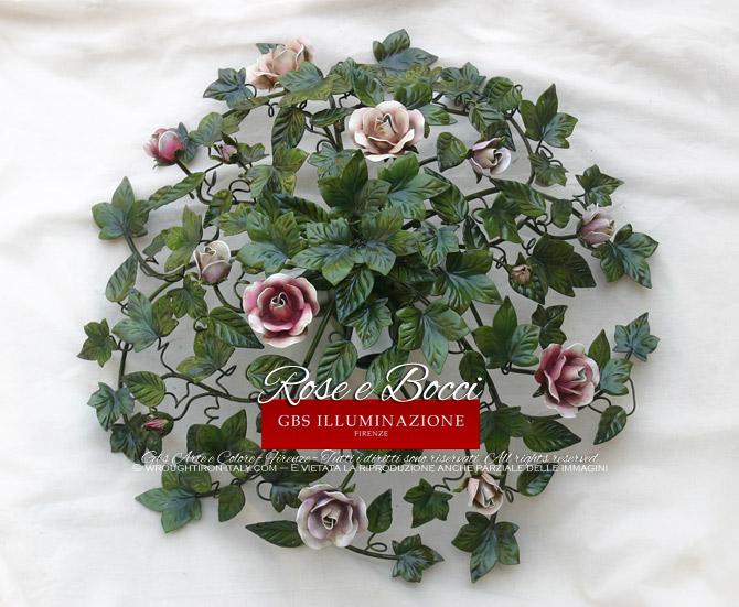 Plafoniere Con Rose : Plafoniera rose e bocci gbs illuminazione u ferro battuto