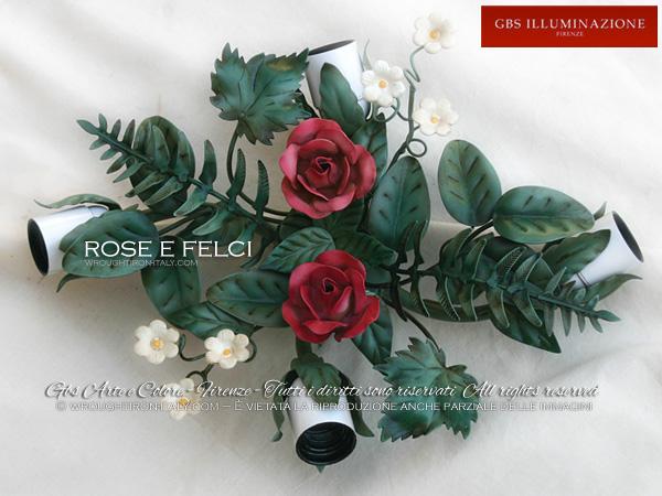 Plafoniere Con Ferro Battuto : Plafoniera con rose e felci gbs illuminazione u2013 ferro battuto