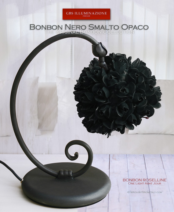 Bonbon Roselline Matt Black Table Lamp - Bedside. Made in Italy