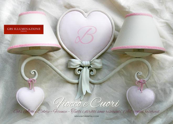 Applique fiocco e cuori cameretta romanticagbs illuminazione