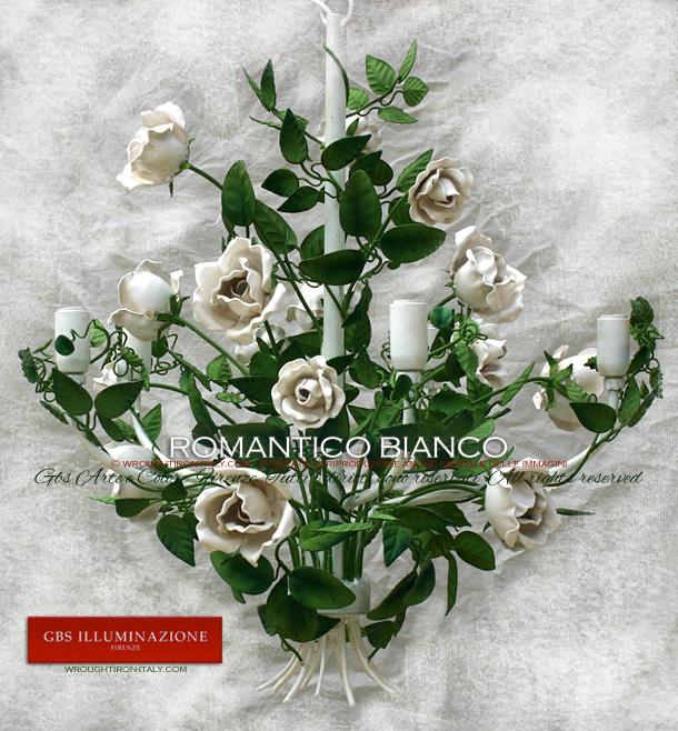 Lampadario romantico rose bianche camera da lettogbs illuminazione ...