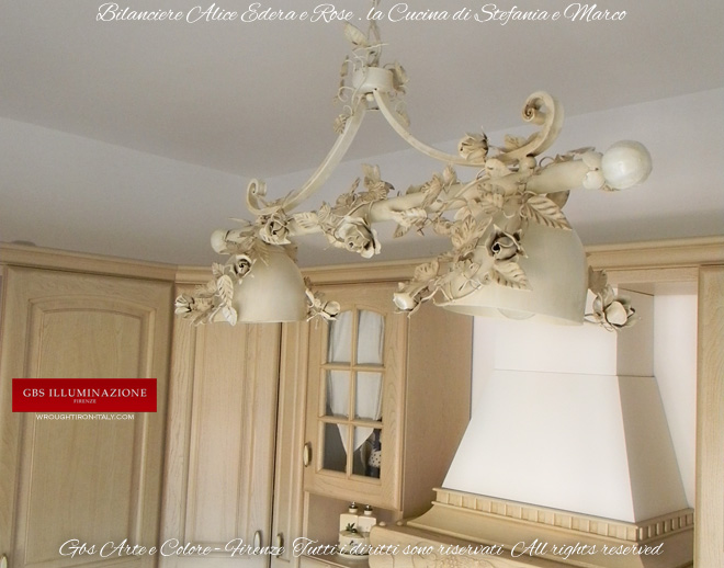 lampadario bianco edera e rose cucinagbs illuminazione. Black Bedroom Furniture Sets. Home Design Ideas