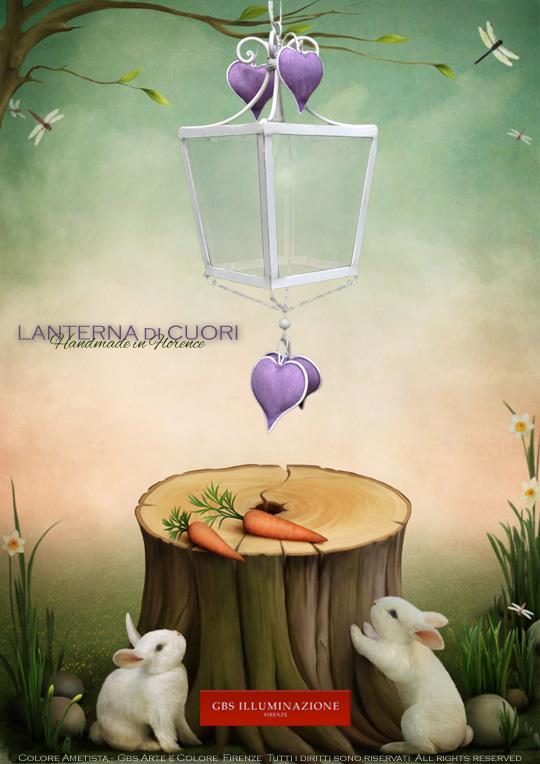 Colore Ametista, viola chiaro. Cameretta romantica con Cuori, Lanterna su misura. GBS FIRENZE.