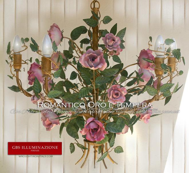 Lampadario Romantico Oro e Tempera Rosa
