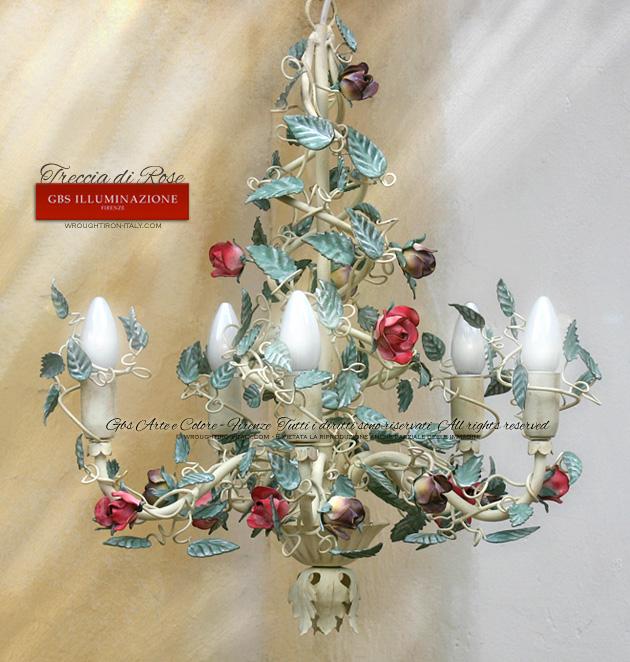 Lampadario treccia di rose gbs illuminazione ferro - Lampadario camera da letto classica ...