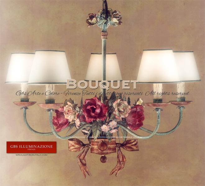 Lampadario Bouquet Rosa Antico | GBS Illuminazione – Ferro Battuto ...