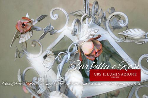Lanterna in ferro battuto Farfalla e Rose. Immagine dall'alto