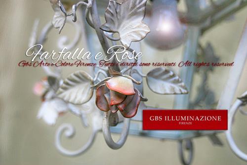 Lanterna in ferro battuto Farfalla e Rose. Immagine dal basso
