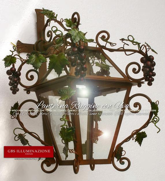 Lanterna con uva ruggine e smalto gbs illuminazione - Lampioni in ferro battuto da esterno ...