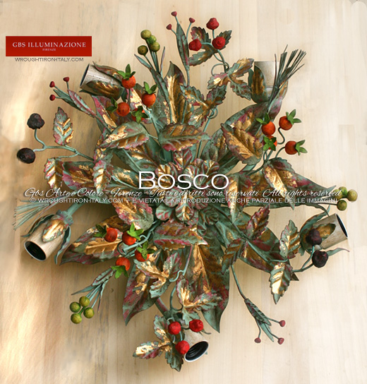 Bosco - Ceiling lamp with berries and wild fruits - tempera and gold. Wrought Iron