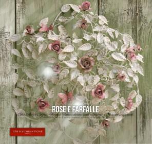 Plafoniera bianca Rose e Farfalle a 5 luci per la meretta o camera da letto romantico o sala da pranzo. A soffitto.