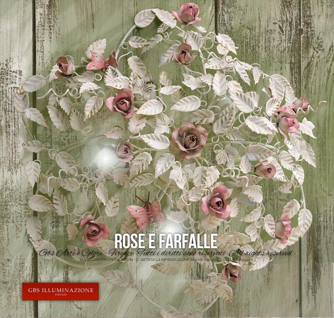 Plafoniera Rose E Farfalle A 5 Luci Gbs Illuminazione